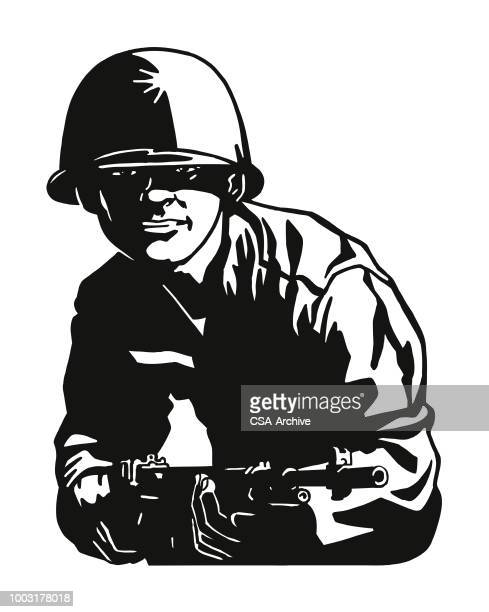 soldier pointing a rifle - army helmet stock illustrations, clip art, cartoons, & icons