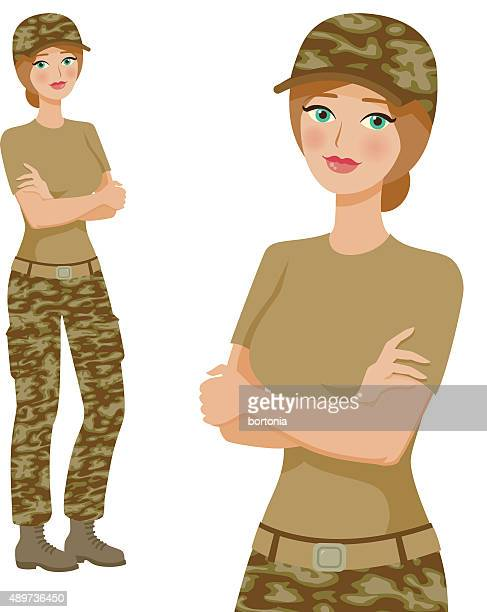 soldier professional woman icons, full body and waist up - updo stock illustrations, clip art, cartoons, & icons
