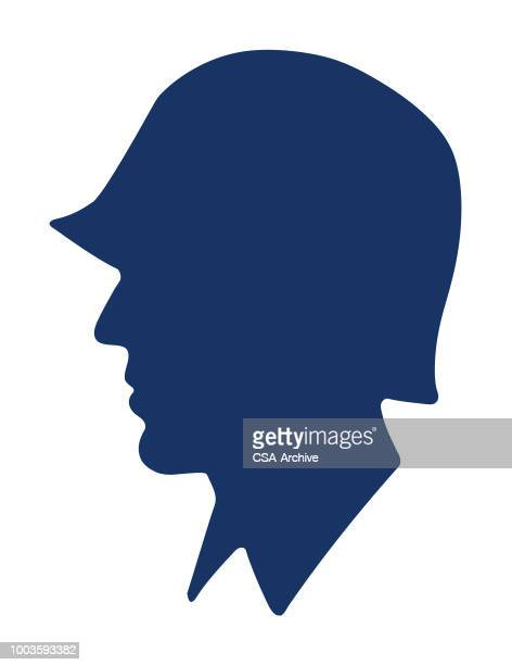 soldier profile - army helmet stock illustrations, clip art, cartoons, & icons