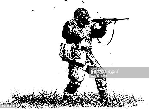 soldier shooting rifle - military personnel stock illustrations, clip art, cartoons, & icons
