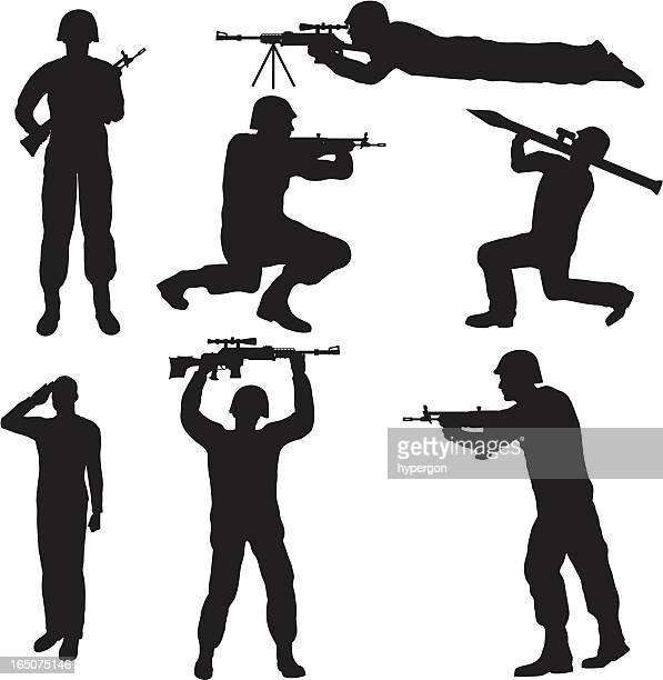 soldier silhouette collection (vector+jpg) - crouching stock illustrations, clip art, cartoons, & icons