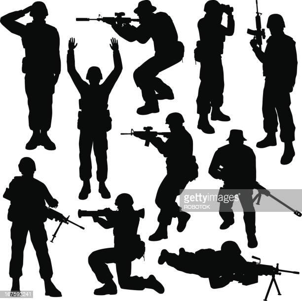 soldier silhouettes - special forces stock illustrations, clip art, cartoons, & icons