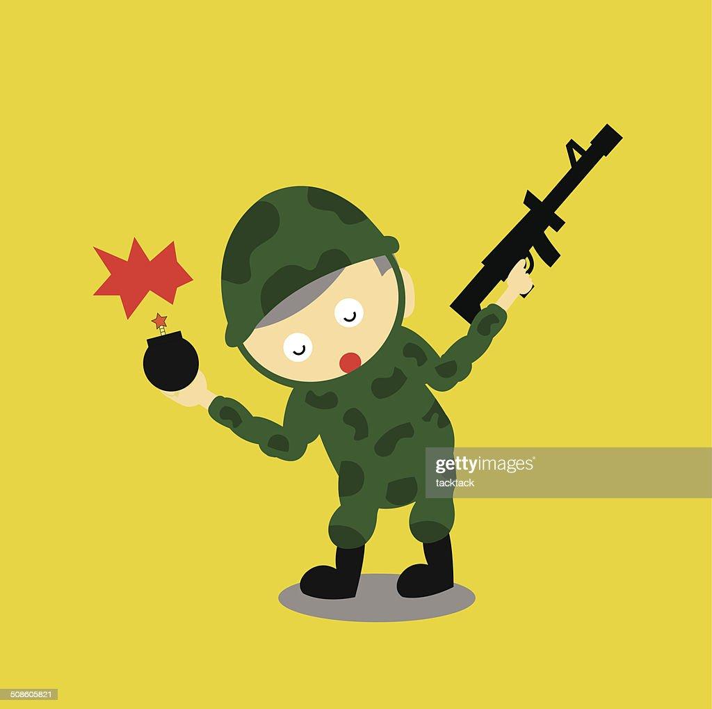 Soldier vector de dibujos animados : Arte vectorial