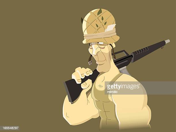 soldier - us marine corps stock illustrations, clip art, cartoons, & icons