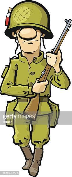soldier - army helmet stock illustrations, clip art, cartoons, & icons