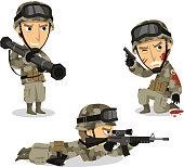 Soldier with bazooka machine gun helmet war uniform standing