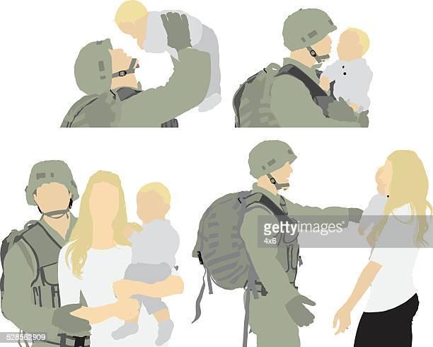 Soldaten mit der Familie