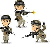 Soldier with machine gun helmet war uniform standing