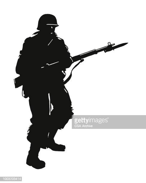 soldier with rifle - bayonet stock illustrations