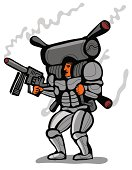 soldier with smoking jet pack