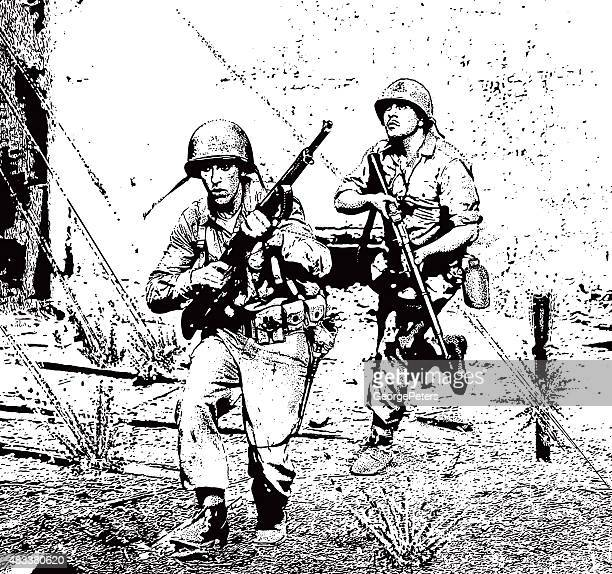 soldiers in combat running through sniper gunfire - us military stock illustrations, clip art, cartoons, & icons