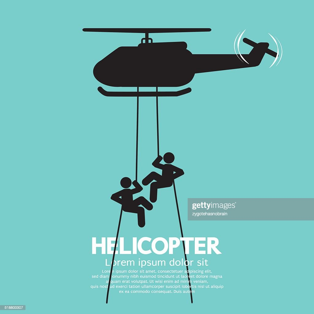 Soldiers Jump From a Helicopter Vector Illustration