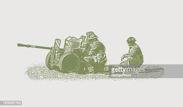 wwii soldiers shooting m2 machine gun - british military stock illustrations