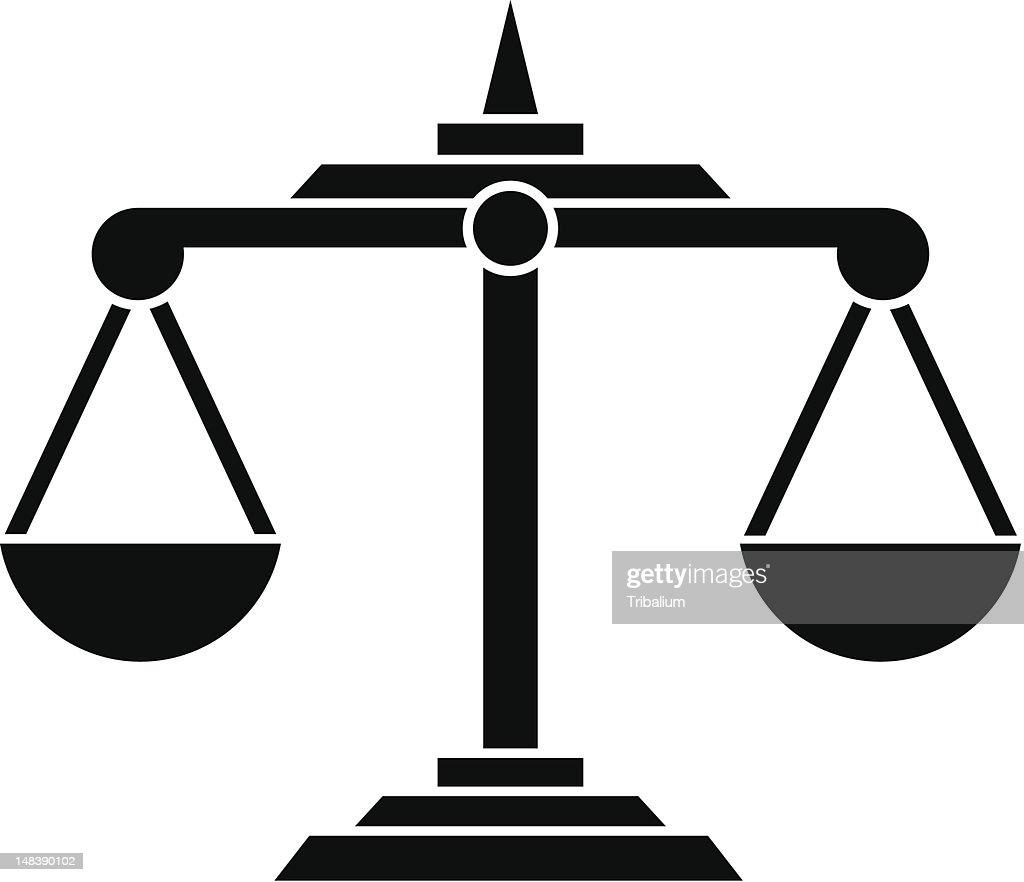Solid black on white background image of scales of justice