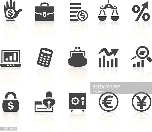 Solid bold Finance icons set on white