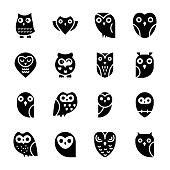 Solid Icons set of owls