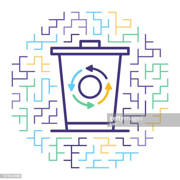 solid waste management line icon illustration - water treatment stock illustrations, clip art, cartoons, & icons