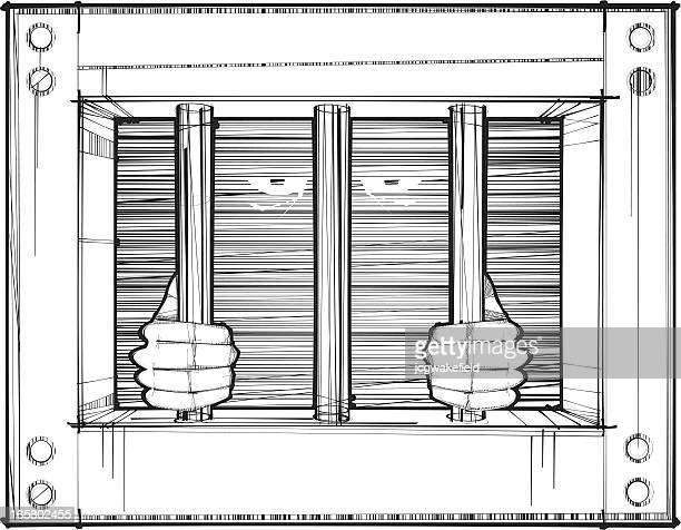 ilustraciones, imágenes clip art, dibujos animados e iconos de stock de el confinamiento en celdas aisladas - aferrarse