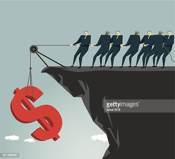 Lösung, Hilfe überwinden, der Börse, Teamarbeit Rezession, Hilfe