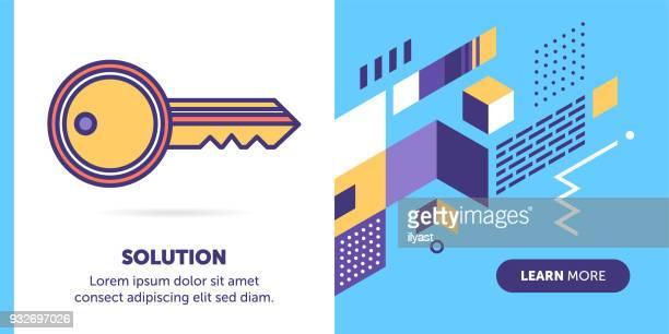 solution banner - unlocking stock illustrations