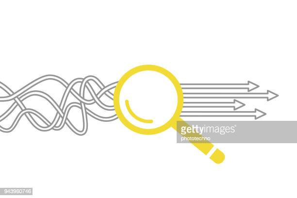 solution concept with magnifying glass - solutions stock illustrations