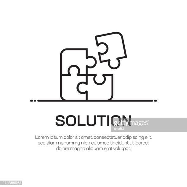 solution vector line icon - simple thin line icon, premium quality design element - puzzle stock illustrations