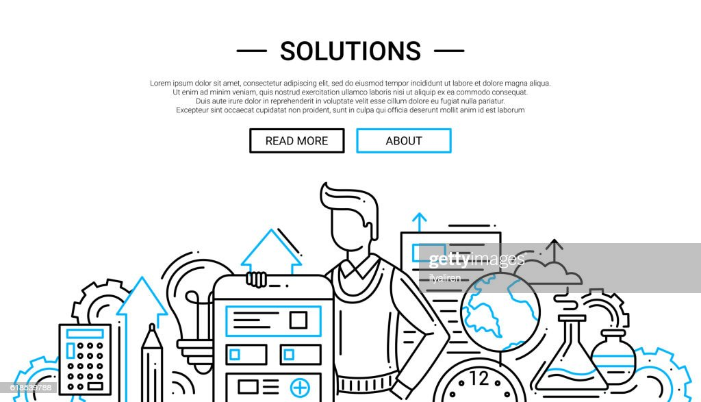 Solutions - line design website banner temlate