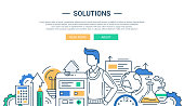 Solutions line flat design banner with male and business tools