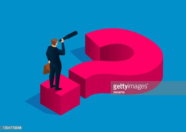 solving business problems, businessman holding binoculars standing on question mark - forecasting stock illustrations