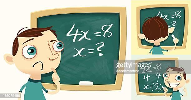 ilustraciones, imágenes clip art, dibujos animados e iconos de stock de solucionar problemas de matemáticas - matematicas