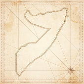 Somalia map in retro vintage style - old textured paper