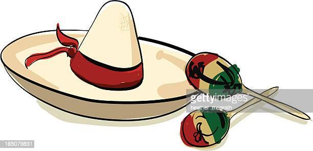 sombrero and maracas - folk music stock illustrations
