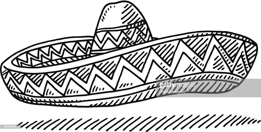 Sombrero Mexcian Hat Drawing : Stock Illustration