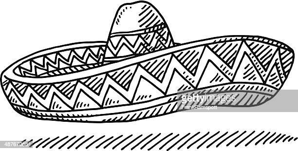 sombrero mexcian hat drawing - sombrero stock illustrations