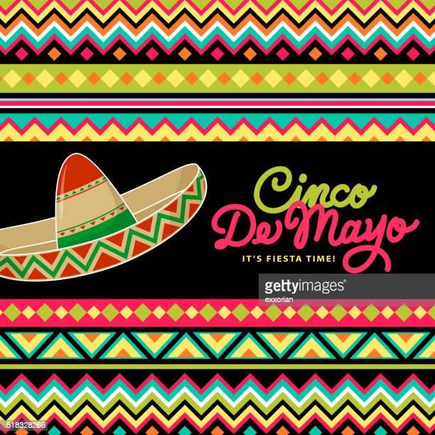 sombrero on mexican background - sombrero stock illustrations
