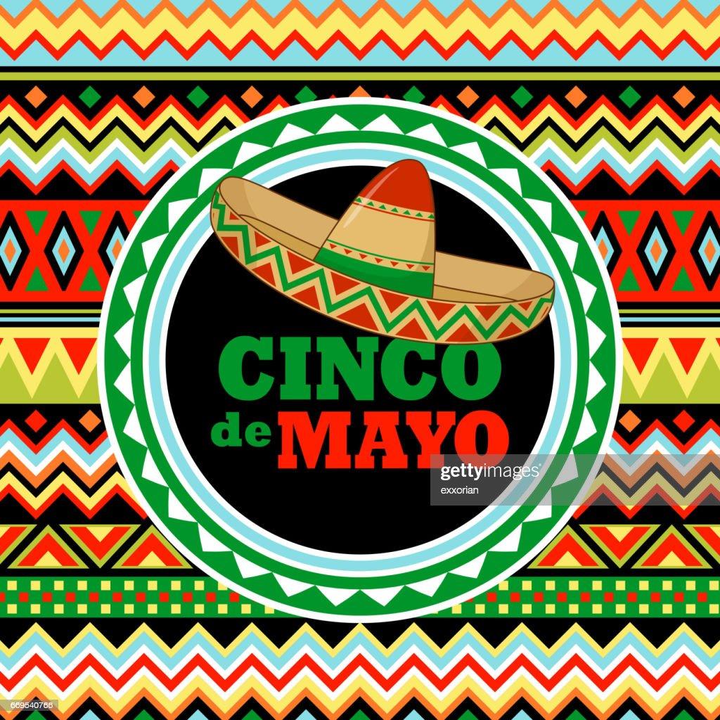 Sombrero on Mexican Pattern : Ilustração de stock