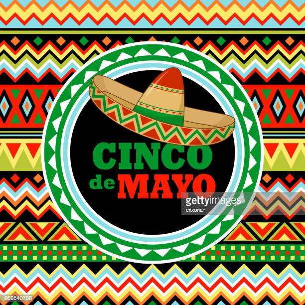 sombrero on mexican pattern - cinco de mayo stock illustrations