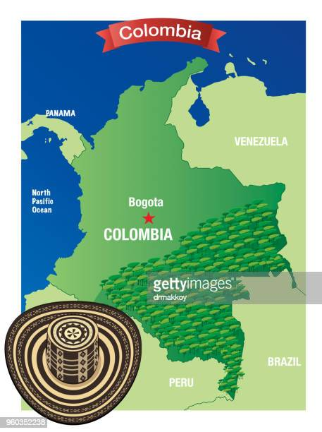 Sombrero vueltiao and Colombia map