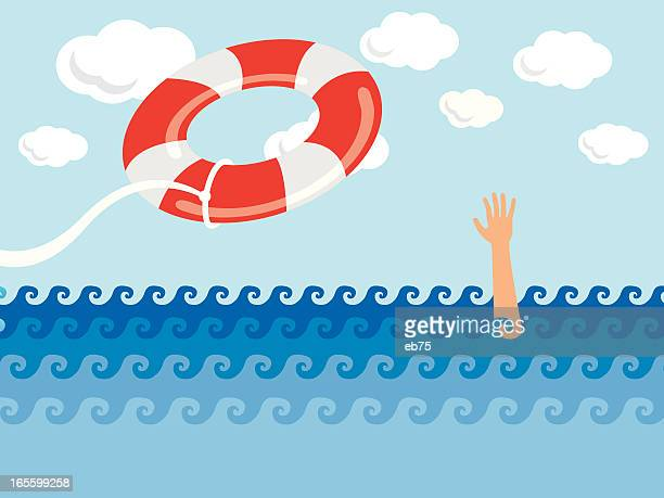 someone in need of help getting thrown a life preserver  - buoy stock illustrations, clip art, cartoons, & icons