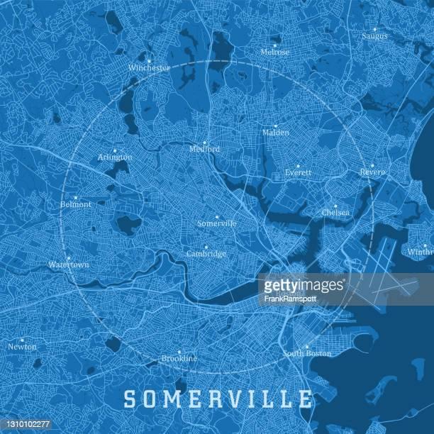 サマヴィルma都市ベクトルロードマップ青いテキスト - マサチューセッツ州サマービル点のイラスト素材/クリップアート素材/マンガ素材/アイコン素材