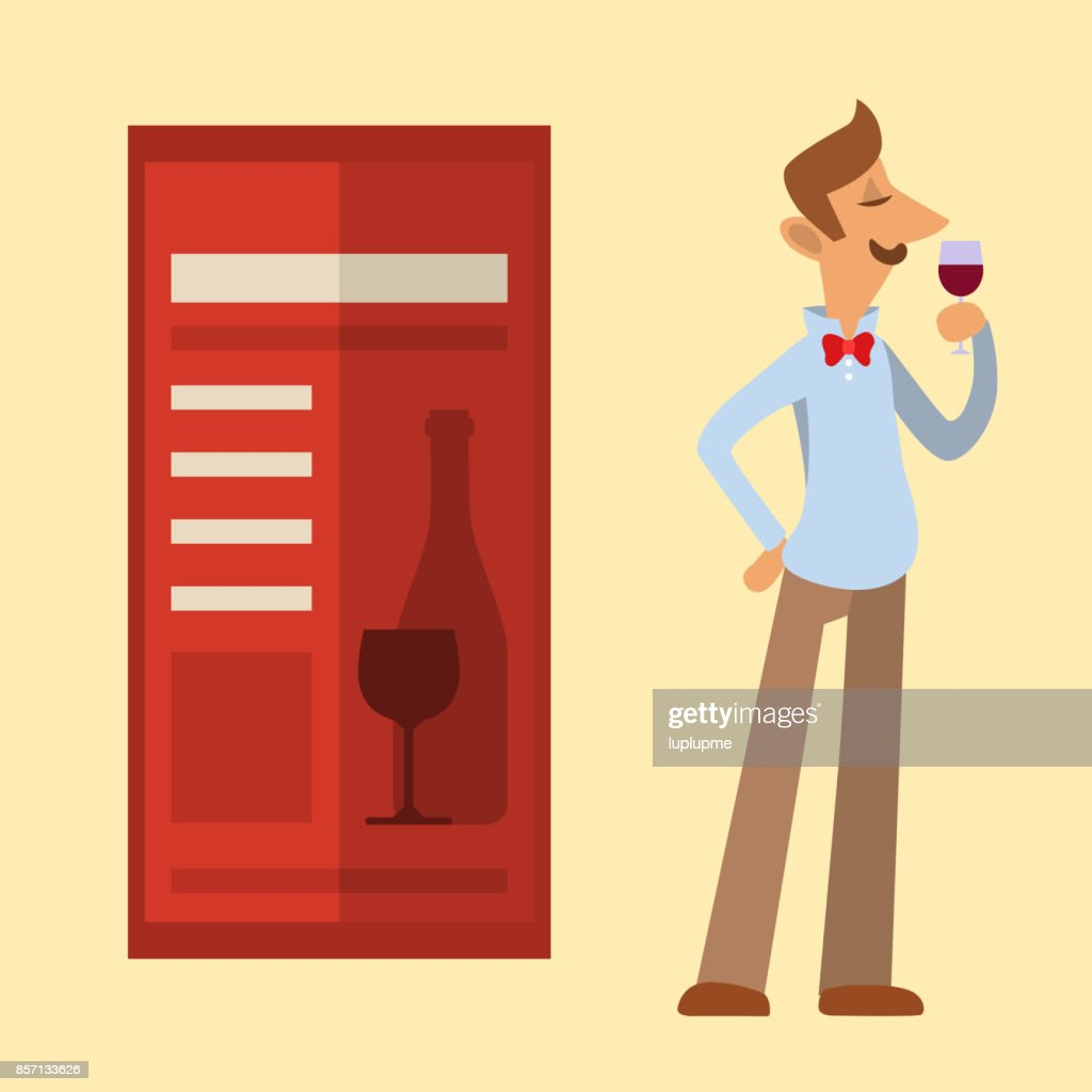 Sommelier in suite looking at red wine in glass professional alcohol restaurant man character vector illustration