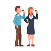 Sommelier man and woman looking at red wine in wineglasses evaluating alcohol drink. Flat vector clipart illustration.