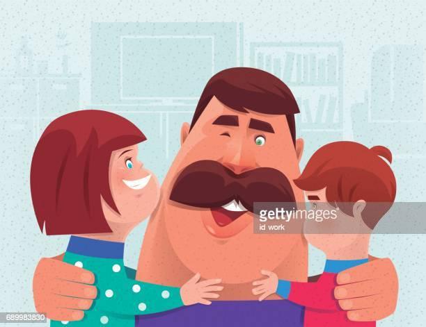 zoon en dochter papa knuffelen