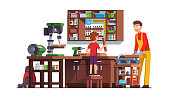 Son kid helping father working at home woodwork  workshop. Carpenter man sawing wood with circular saw. Flat style isolated vector