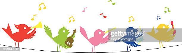 ilustrações de stock, clip art, desenhos animados e ícones de música de aves - canto de passarinho