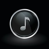 Song note icon inside round silver and black emblem