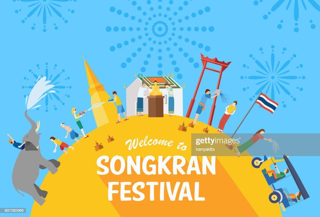 Songkran Festival Banner, Thai New Year's Day, Vector Illustration