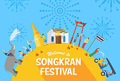 Songkran Festival Banner, Thai New Year's Day, Vector Illustration