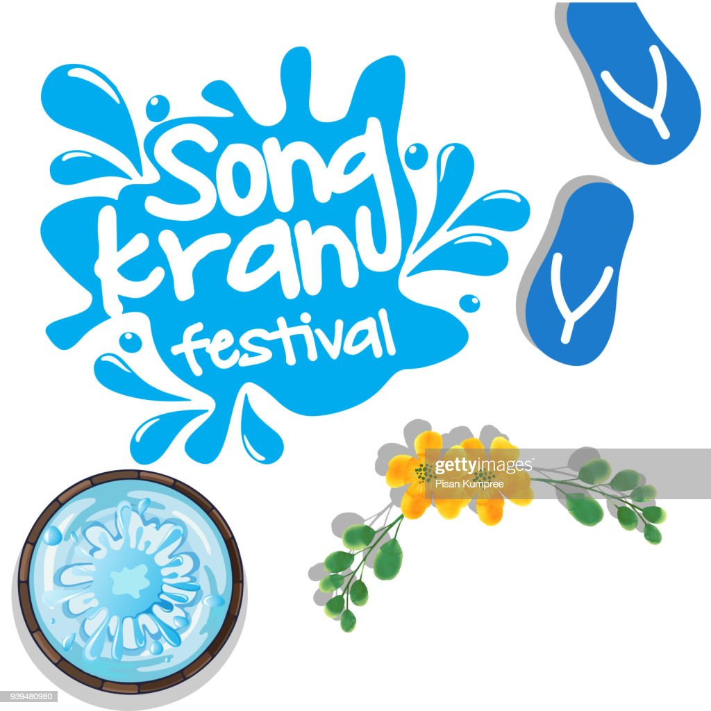 Songkran Festival In Thailand Sandal Bowl Yellow Flower Background Vector Image