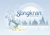 Songkran Festival in Thailand Vector, Thai traditional, Thai Water Splash